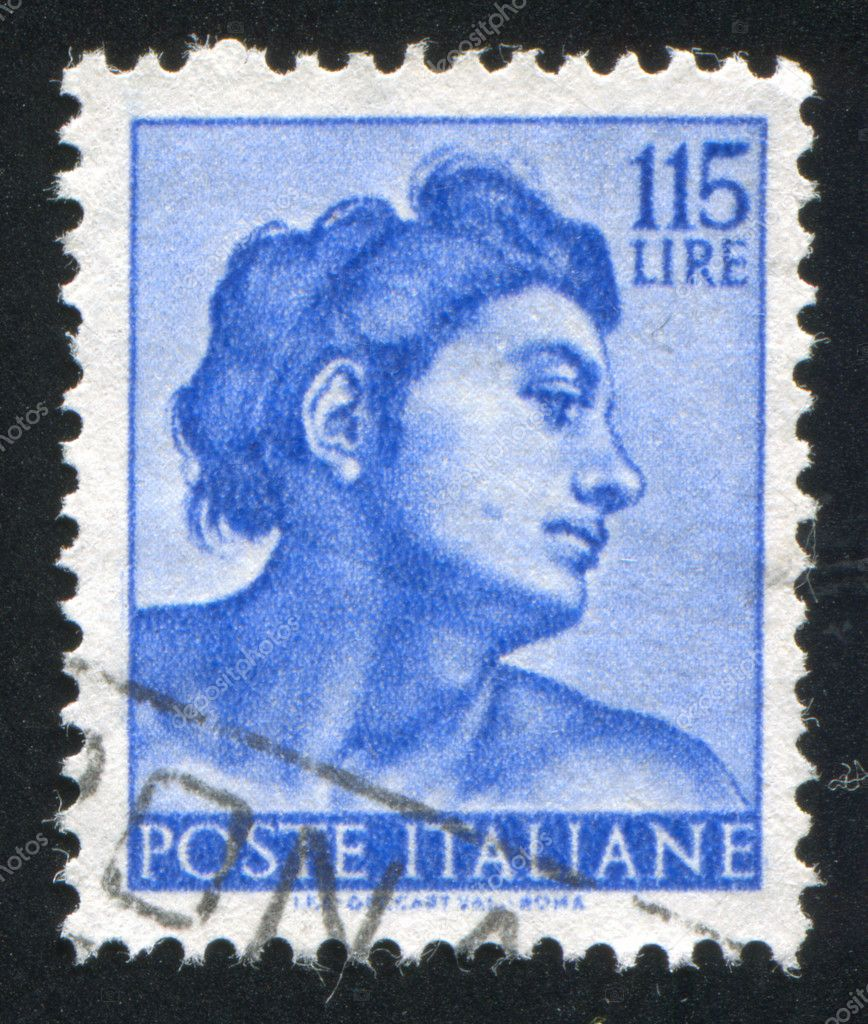 ITALY - CIRCA 1961: stamp printed by Italy, shows Designs from Sistine Chapel by Michelangelo, Head of the slave, circa 1961 — Stock Photo #11813140