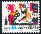 Stempel gedruckt von schweiz-clown — Stockfoto