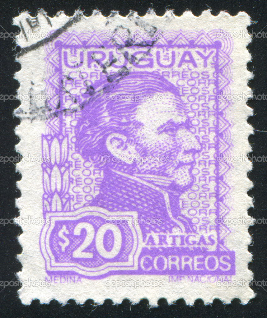 URUGUAY - CIRCA 1972: stamp printed by Uruguay, shows Jose Gervasio Artigas, circa 1972 — Stock Photo #11930803