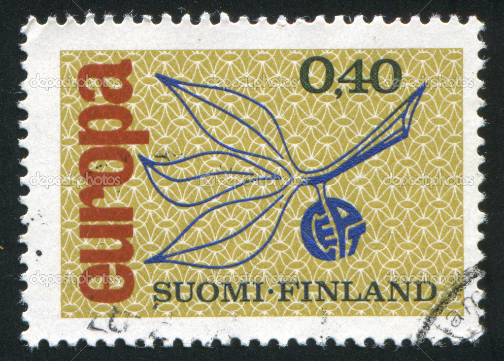 FINLAND - CIRCA 1965: stamp printed by Finland, shows Stylized branch with leaves, CEPT emblem, Europa Issue, circa 1965  Stock Photo #12317941