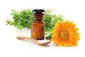 Homeopathy with apothecary jar — Stock Photo