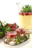 May wine with strawberries and woodruff — Stock Photo