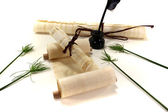 Papyrus rolls with inkpot and quill — Stock Photo