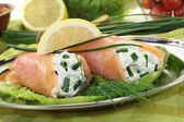 Fresh Salmon rolls — Stock Photo