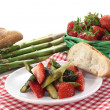 Asparagus strawberry salad — Stock Photo