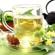 Lime blossom tea — Stock Photo