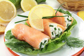 Smoked salmon roulade — Stock Photo