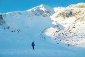 Skidåkare på berg slutta — Stockfoto