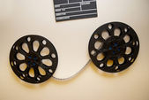 Two retro motion picture film reels — Stock Photo