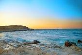 Sunset above the winter sea — Stock Photo