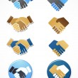 Collection of handshake icons and elements - Stock vektor