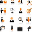 Set of business and strategy icons - Stok Vektör