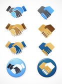 Collection of handshake icons and elements — Stock Vector