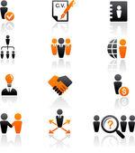Samling av mänskliga resurser ikoner — Stockvektor