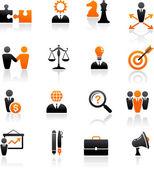Conjunto de iconos de negocio y estrategia — Vector de stock