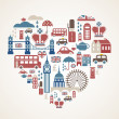 Vettoriale Stock : London love - heart with many vector icons