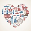 Vecteur: London love - heart with many vector icons