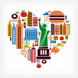 New York love - heart shape with many vector icons — Imagen vectorial