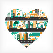 City love - heart shape with many icons — Stock Vector