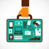 Business travel illustration - man with suitcase — Vector de stock
