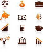 Insamling av pengar och finans ikoner — Stockvektor