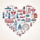 Londres amour - coeur avec plusieurs icônes vectorielles — Vecteur