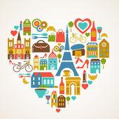 Pars amour - illustration vectorielle avec ensemble d'icônes — Vecteur