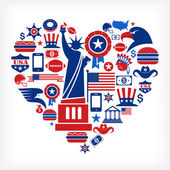 America love - heart shape with many vector icons — Vector de stock