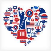 Amor américa - en forma de corazón con muchos iconos vectoriales — Vector de stock