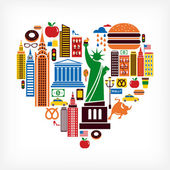 New York love - heart shape with many vector icons — Stock Vector