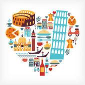 Amour de l'italie - en forme de cœur avec icônes vectorielles — Vecteur