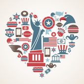America love - heart shape with many vector icons — Stock Vector