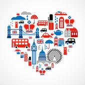 Londyn miłość - serce z wielu ikon wektor — Wektor stockowy