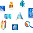 Collection of real estate icons and elements — Imagens vectoriais em stock