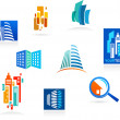 Collection of real estate icons and elements — Image vectorielle