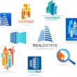 Collection of real estate icons and elements — Stok Vektör