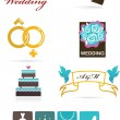 Vector de stock : Wedding icons and graphic elements