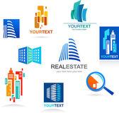 Colección de iconos de bienes raíces y elementos — Vector de stock