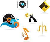 Collection of music icons and elements — Stock Vector