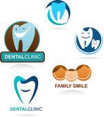 Diş kliniği simgeler koleksiyonu — Stok Vektör