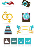 Wedding icons and graphic elements — Stock Vector
