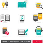 1 - e-kitap, sesli kitap ve edebiyat simgeler koleksiyonu — Stok Vektör