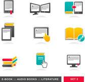 Verzameling van e-boek, audioboek en literatuur icons - 2 — Stockvector