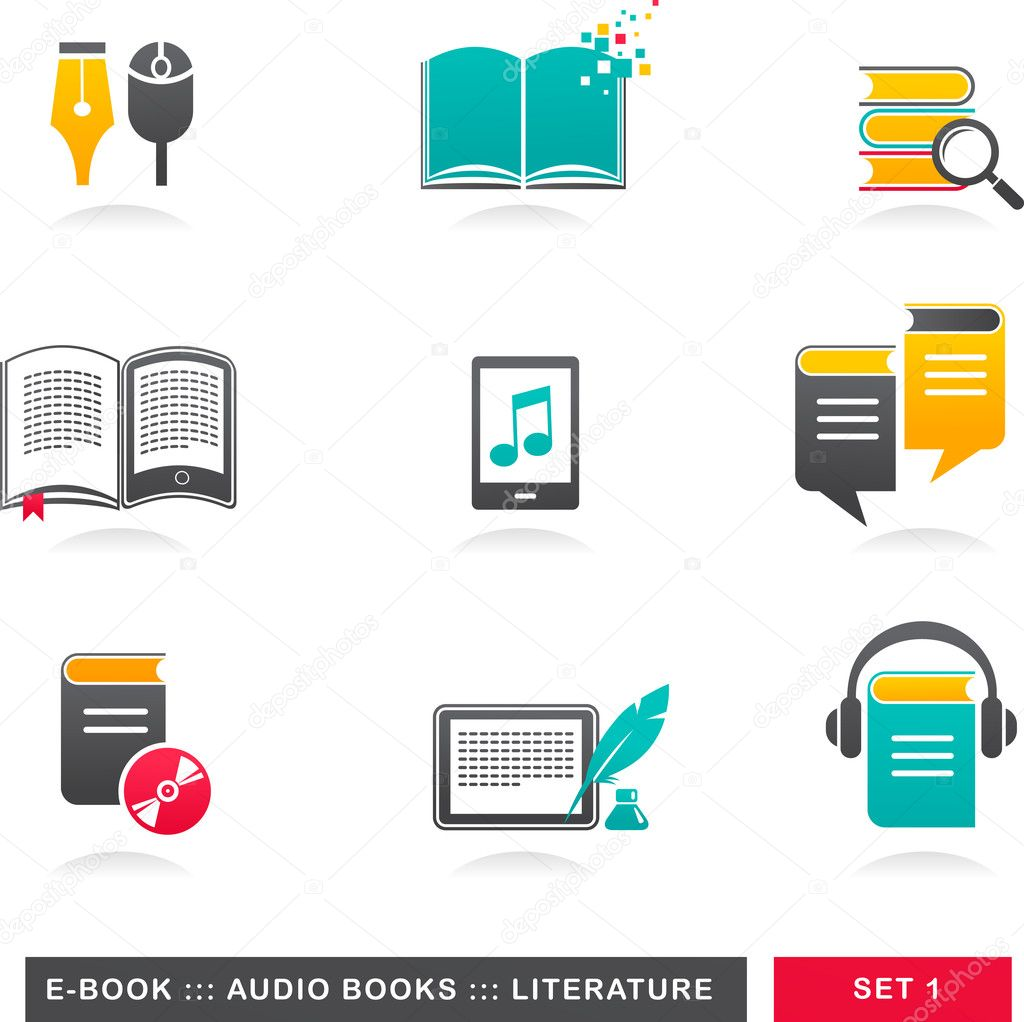 Collection of E-book, audiobook and literature icons — Stock Vector #11187122