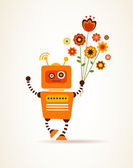 Orange robot with flowers, for greeting card — Stock Vector
