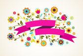 花とリボン ベクトル グリーティング カード — ストックベクタ