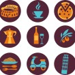 Royalty-Free Stock Obraz wektorowy: Set of Italy vector icons