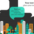 Vector de stock : City talks, buildings and speech bubbles
