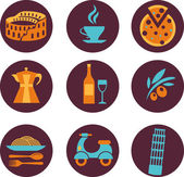 Set of Italy vector icons — Stock Vector