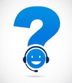 Customer support with question mark — Stock Vector